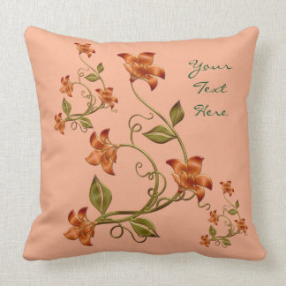 Personalized Orange Lillies Floral Pattern Pillow