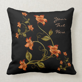 Personalized Orange Lillies Floral Pattern Pillow2 Throw Pillow