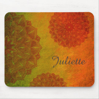 Personalized Orange Mandala Mouse Pad