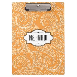 Personalized Orange Paisley Clipboard