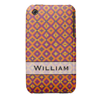 Personalized orange purple harlequin pattern iPhone 3 cover