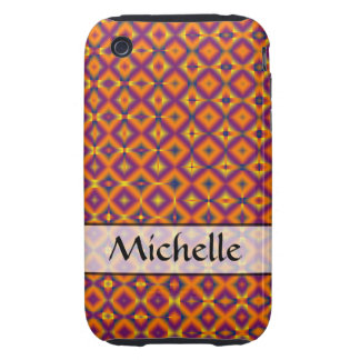 Personalized orange purple harlequin pattern iPhone 3 tough cover
