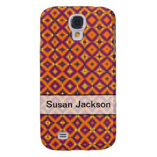 Personalized orange purple harlequin pattern samsung galaxy s4 covers