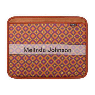 Personalized orange purple harlequin pattern MacBook sleeve