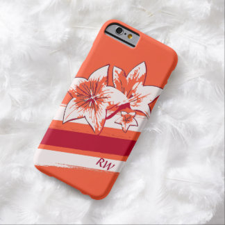 Personalized Orange Red cream modern Art Lilly Barely There iPhone 6 Case