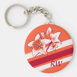 Personalized Orange Red cream modern Art Lilly Basic Round Button Keychain