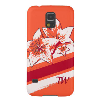 Personalized Orange Red cream modern Art Lilly Case For Galaxy S5