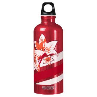 Personalized Orange Red cream modern Art Lilly Water Bottle