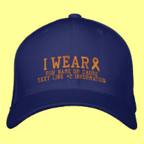Personalized Orange Ribbon Awareness Embroidery Cap