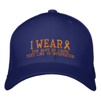 Personalized Orange Ribbon Awareness Embroidery Embroidered Baseball Hat
