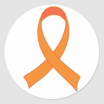 Personalized Orange Ribbon Awareness Gift Classic Round Sticker