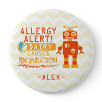 Personalized Orange Robot Dairy Allergy Alert Pin