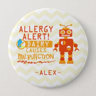 Personalized Orange Robot Dairy Allergy Alert Pin