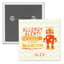 Personalized Orange Robot Egg Allergy Alert Button