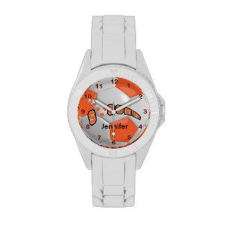 Personalized Orange Soccer Ball Wristwatch
