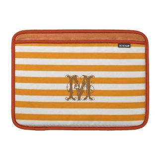 Personalized Orange Striped macbook Sleeve