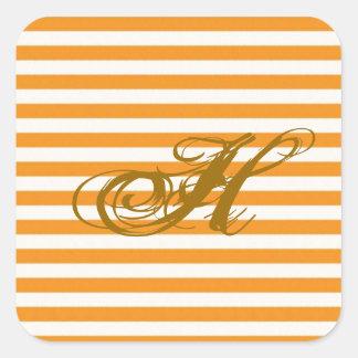 Personalized Orange Striped Square Sticker