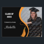 "Personalized Orange Tassel Graduation Lawn Sign<br><div class=""desc"">Upload your own photo to this contemporary design which features a black background with a orange ribbon and matching graduation tassel. The reverse side of this deluxe product features the same design. There is plenty of customizable text on the both sides of this premium lawn sign for you to add...</div>"
