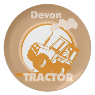 Personalized Orange Tractor  Kids Plate