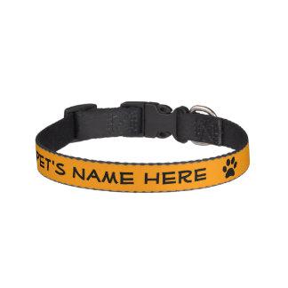 Personalized Orange w/Black Pawprint Pet Collar