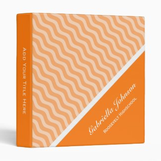 Personalized: Orange Waves Avery Binder