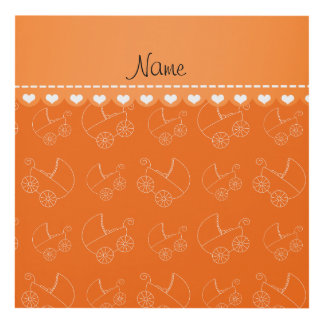 Personalized orange white baby carriages panel wall art