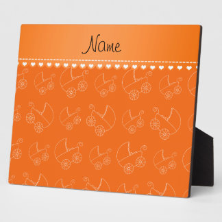 Personalized orange white baby carriages photo plaque