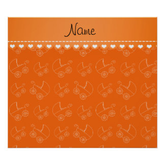 Personalized orange white baby carriages poster