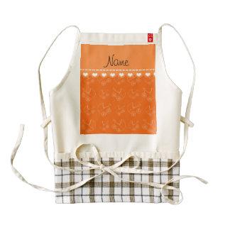 Personalized orange white baby carriages zazzle HEART apron