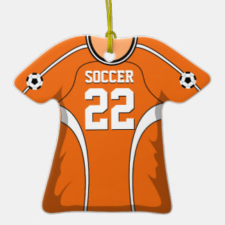 Personalized Orange/White Soccer Jersey 22 V1 Double-Sided T-Shirt Ceramic Christmas Ornament