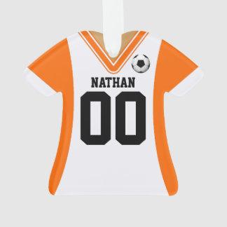Personalized Orange/White Soccer Jersey Ornament