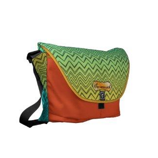 Personalized Orange Yellow & Aqua Zigzag Pattern rickshawmessengerbag