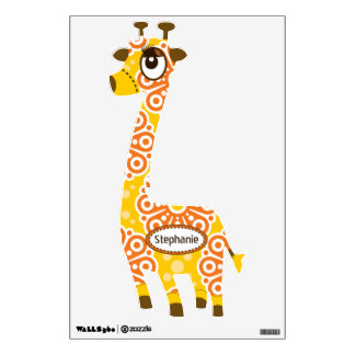 Personalized Orange Yellow Floral Pattern Giraffe Wall Graphic