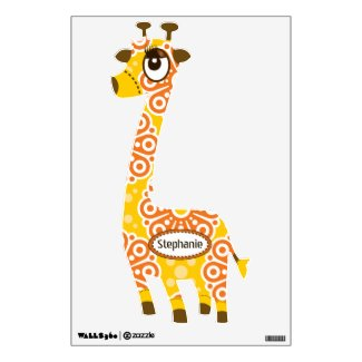 Personalized Orange Yellow Floral Pattern Giraffe Wall Graphic
