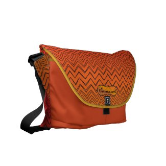 Personalized Orange & Yellow Zigzag Pattern rickshawmessengerbag