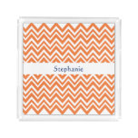 Personalized Orange Zigzag Pattern Acrylic Tray
