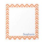 Personalized Orange Zigzag Pattern Note Pads