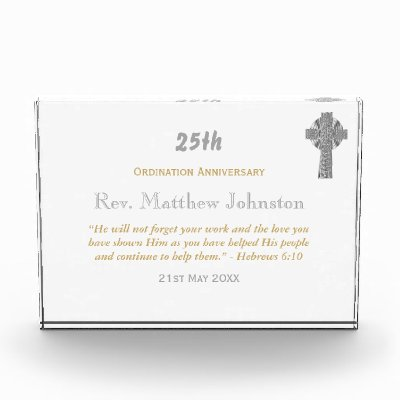 Personalized ORDINATION ANNIVERSARY Priest Pastor Acrylic Award