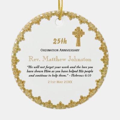 Personalized ORDINATION ANNIVERSARY Priest Pastor Ceramic Ornament