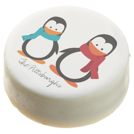 Personalized Oreos- Two Cute Penquins- Chocolate Dipped Oreo