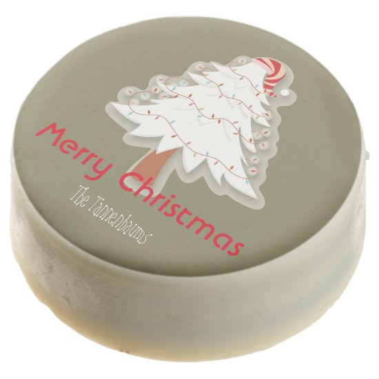 Personalized Oreos- White Christmas Tree- Chocolate Covered Oreo