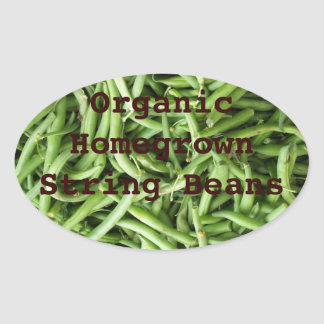 Personalized Organic Green String Beans Canning Oval Sticker