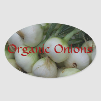 Personalized Organic White Onions Canning Labels Oval Sticker