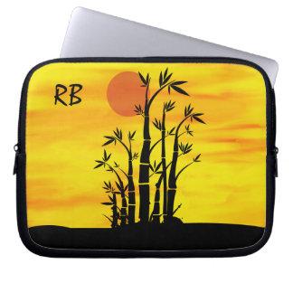 Personalized Oriental Bamboo Sunset Laptop Sleeve