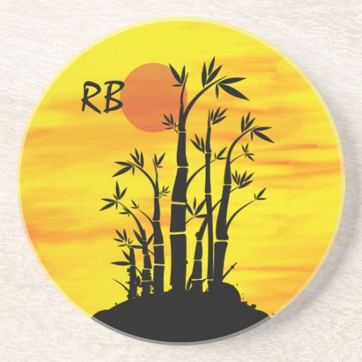 Personalized Oriental Bamboo Sunset Sandstone Coaster