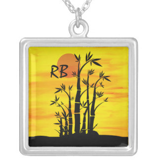 Personalized Oriental Bamboo Sunset Silver Plated Necklace