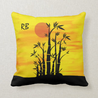Personalized Oriental Bamboo Sunset Throw Pillow