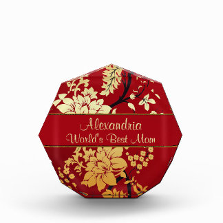 Personalized Oriental Golden Flowers on Red Award