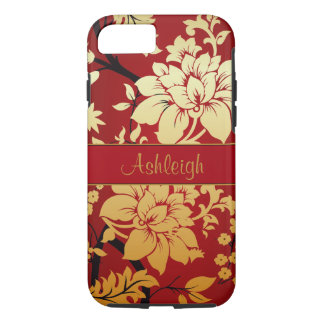 Personalized Oriental Golden Flowers on Red iPhone 8/7 Case