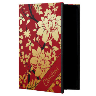 Personalized Oriental Golden Flowers on Red Powis iPad Air 2 Case